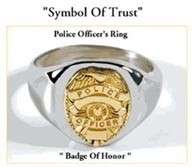 POLICE OFFICER SYMBOL OF TRUST STAINLESS STEEL SILVER RING BADGE OF