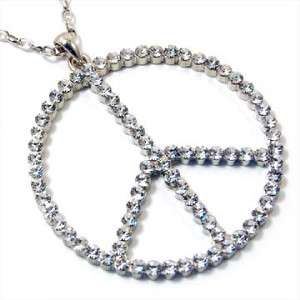 Chunky Large Clear Crystal Peace Sign Necklace