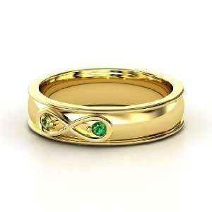 Infinite Love Ring, 14K Yellow Gold Ring with Green Tourmaline
