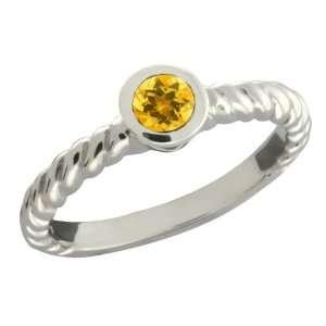 0.26 Ct Round Yellow Citrine 14k White Gold Ring Jewelry
