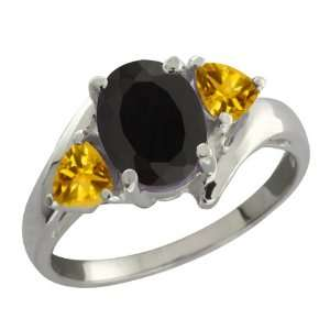 05 Ct Oval Black Onyx and Yellow Citrine 18k White Gold Ring Jewelry