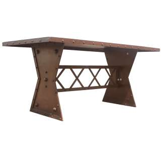 72 Industrial Machine Age French Steel Dining Table