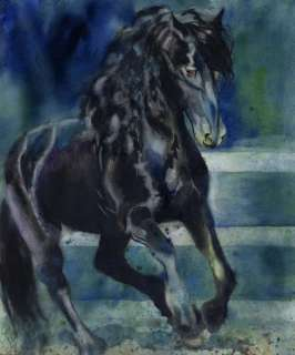Print Watercolor Painting Friesian Horse Art