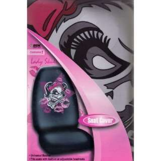 Pink Red Lady Girl Skull Bows Pigtails Car Truck SUV Seat Cover Pair