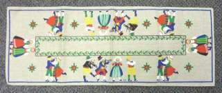 Swedish Woven Hand Painted Dancing Music Table Runner 25 x 9.5 GREAT