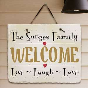 Live, Laugh, Love Personalized Slate Plaque