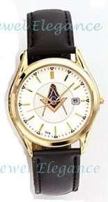 Blue Lodge Masonic Bulova Watch Fancy White Dial Leather Band
