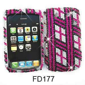 CELL PHONE CASE COVER FOR BLACKBERRY TORCH 9800 RHINESTONES PINK LINES