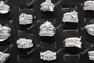 wholesale jewelry lots 5pcs zircon rhinestone silver Plated rings free