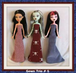 GOTH GOWN LOT #5 Clothes Clothing Handmade 4 MONSTER HIGH DOLL Custom