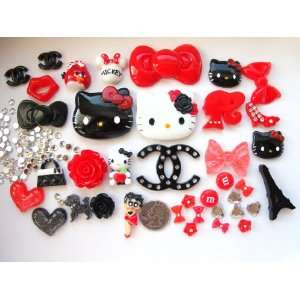 com 38 Mix Red/Black Hello Kitty Bling Bling Flat Back Resin Cabochon