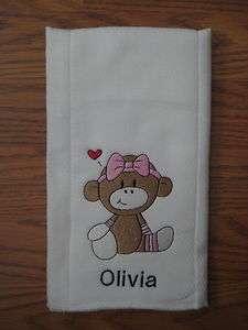 custom embroidered cloth diaper/burp cloth   baby Girl Sock Monkey