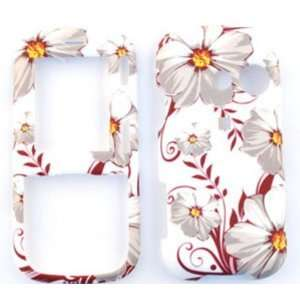 LG Rumor 2 LX265 White Flowers with Red Leaves Hard Case
