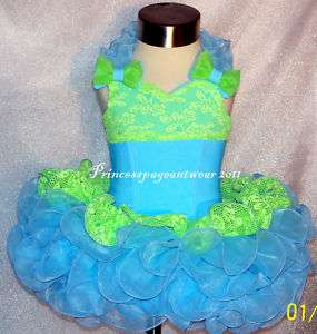 Blue and Lime Green National Pageant Dress Shell