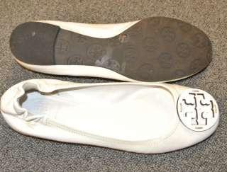 Tory Burch REVA White Patent Leather Ballet Flats 8