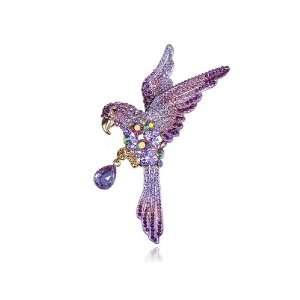 Lavender Purple Tropical Parrot Bird AB Swarovski Rhinestone Crystal