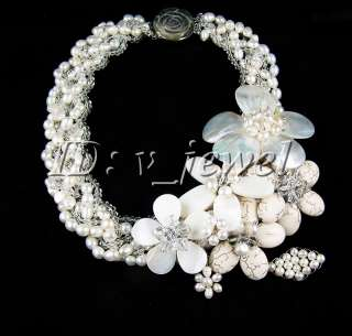Shell pearl turquoise pearl crystal necklace/earring VJ