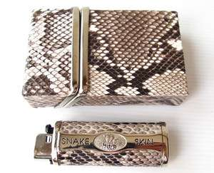 100% GENUINE PYTHON SNAKE LEATHER CIGARETTE CASE&LIGHTER CASE NEW