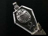 Egyptian, Silver Scarab + Ankh + Shield Egypt Pendant