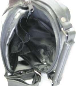 Black Men Leather Purse Waist Shoulder Travel Camera Bag Cell Phone