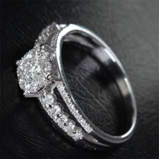 68ct DIAMOND 14K WHITE GOLD ENGAGEMENT WEDDING RING $$