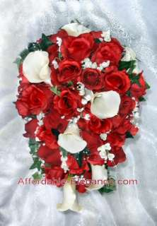 Apple RED Ivory or White CALLA LILIES ROSES BRIDAL Bouquet Silk