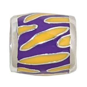 TIGER PRINT Sterling Silver European Style Charm Bead Arts, Crafts