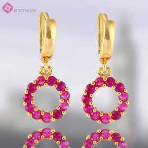 ROUND CUT RUBY YELLOW GOLD GP EARRINGS GARNET EARINGS