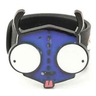 Invader Zim Gir Face Mood Changing Color Black Rubber Slap Bracelet