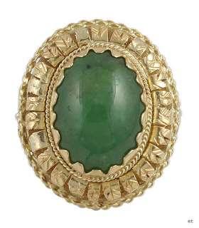 QUALITY MODERN ITALIAN 18K GOLD JADE CABOCHON RING