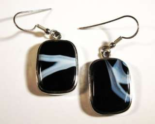 MEXICAN ONYX BANDED AGATE SS DANGLE EARRINGS 1 7/8