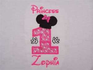 Personalized MINNIE MOUSE 1st Birthday Shirt Hot Pink