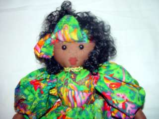 17 BLACK AFRICAN AMERICAN DOLL HOMEMADE? PAINTED FACE BAHMAMAS
