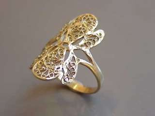 W6846  10k Yellow Gold   Diamond Cut, Filigree Ring   1980s 90s