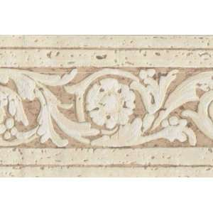 Scrolled Textured Architectural Wallpaper Border: Home