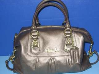 COACH 15445 ASHLEY STEEL LEATHER SATCHEL HANDBAG PURSE NEW BAG