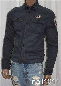 Hollister HCO Dudes Mens Fleece Button up Jacket S NWT Logo Dark Gray