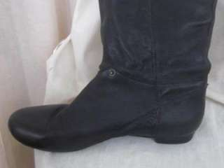 leather rounded toe flat knee high buckle detail boots 39