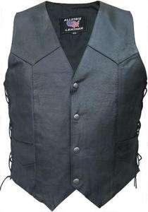 Mens REBEL BIKER Basic Black SPLIT COWHIDE LEATHER Motorcycle Vest