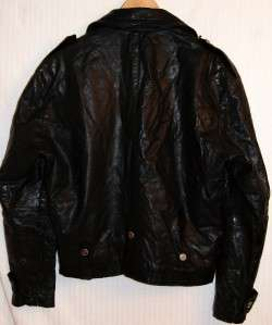 VTG Johnsons La Rocka Black Leather Skull Crossbones Motorcycle Jacket