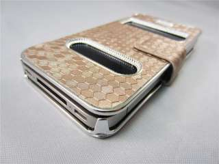 Gold Luxury Synthetic Leather Magnetic Flip Case Cover for iPhone 4 4G