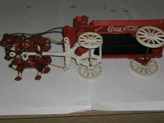 Coca Cola Vintage Cast Iron Horse Drawn Wagon