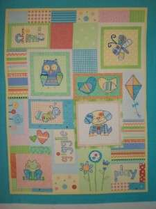 Patchwork Style Butterfly Owl Quilt Panel Nursery Baby Girl Fabric
