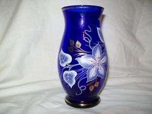 Bohemia Crystal Vase Cobalt Blue/Gold Czech Republic