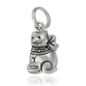 Sterling Silver Marcasite Cat Charm Jewelry