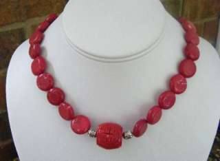 HANDMADE RED TURQUOISE & CARVED CORAL BEADED NECKLACE