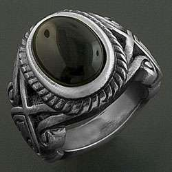 Stainless Steel Black Onyx Oval Celtic Ring (China)