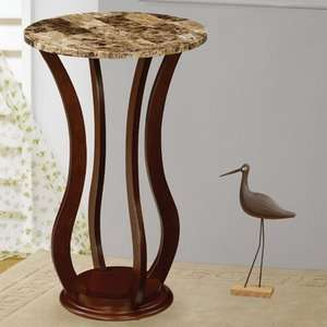 Home Ferron Faux Marble Top Pedestal Plant Stand in Cherry Furniture
