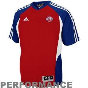 adidas Detroit Pistons Red On Court Shooting Performance T shirt