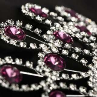 Lady Amethyst Multi Clear Rhinestone Hair Pin Claw Clasp Clip